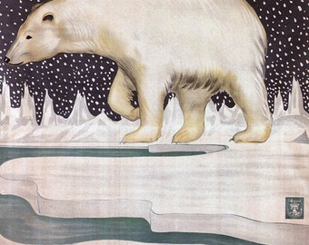 Canvas Gallery Wrap Giclee Vintage Ad Poster Polar Bear Venice Ice Factory Italian