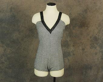 vintage 50s Swimsuit - Metallic Striped Knit Swimsuit 1960s One Piece Swimsuit Bathing Suit Sz M