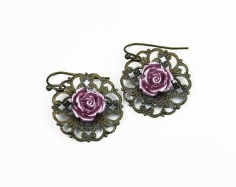Brass Filigree with Pink Roses Vintage Style Earrings