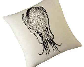 Cuttlefish squid silk screened cotton canvas throw pillow 18 inch black