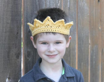 Little Prince Crown, Boy's Crochet Crown, Baby Boy Crown, Baby Photo Prop, Dress Up Crown, Kid's Prince Crown, Prince Costume Crown