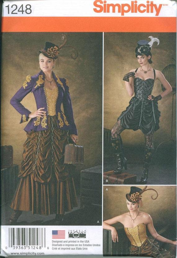 Steam Punk Gown Dress Corset Skirt Sewing Pattern Simplicity 1248 Sizes 6-8-10-12 Ruffled Skirt Flapper Burlesque
