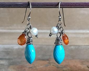 Turquoise, Mandarin Garnet and Pearl, Drop Dangle Earrings, Chandelier, Wire Wrapped Gemstone Earrings, Sunshine, Orange and Blue