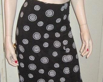 WOMEN'S Ladies 90s Fashion Long Skirt Circular Pattern Shapes Elastic Band Waist