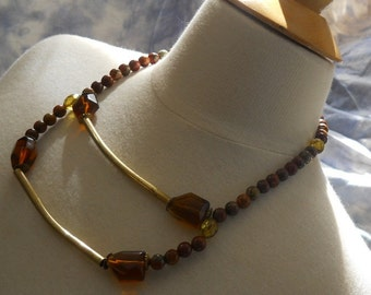Climb necklace - Picasso jasper, glass, amber, vintage gold-toned metal, earth tones