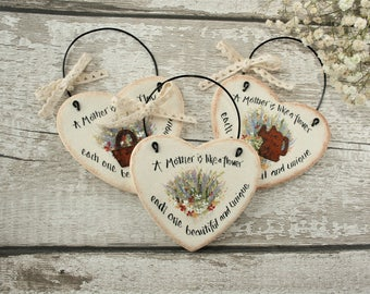 Mothers Day gift salt dough heart hanging ornament, A mother is like a flower.., Gift for mum, Thank you gift ,Rustic heart mommy gift