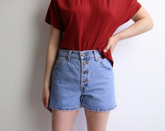 VINTAGE Denim Shorts Levis Jeans Button Fly Blue Womens Small Short 950 Relaxed Made in USA