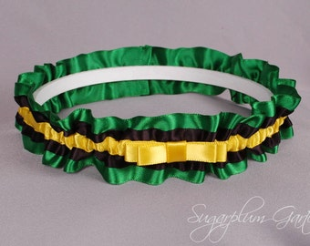 Jamaican Flag Wedding Garter in Yellow, Green and Black Satin with Tailored Bow