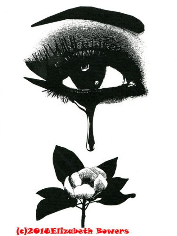 Womans Eye Crying Black Tear Flower original art print makeup print eye lashes Fantasy Goth ink black and white