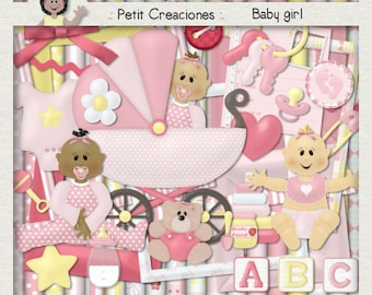 "KIT SCRAPBOOKING DIGITAL ""Baby girl"""