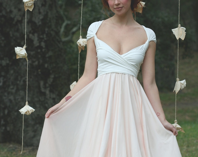 Coralie Beatrix Avalon Peach Chiffon with Crescent Bay Off White Octopus Infinity Convertible Wrap Dress~ Bridesmaids, Wedding, Maternity, e