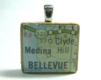 Bellevue, Washington - 1962  vintage Scrabble tile map pendant