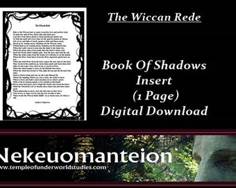 Wicca, Wiccan, Book Of Shadows Insert Page:  The Wiccan Rede
