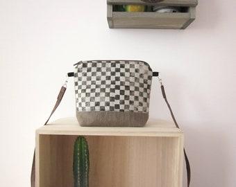 Small geometric handbag,handprinted linen bag, linen handbag, Crossbody bag, Hand printed bag, Every day bag, vegan bag
