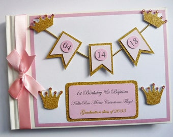 Personalised Princess and crowns gold and pink girls Birthday guest book - any design