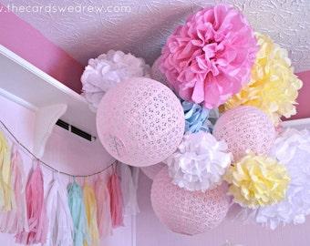 Nursery Pom Poms, 7 Tissue Paper Pom Poms for nursery, party decorations, wedding decorations, spring decor, whimsical nursery decorations