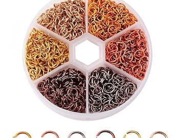 6mm Aluminum Jump Rings with Six Assorted Finishes in Handy Storage Box 1080 Pieces -JBox-16