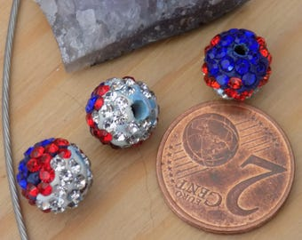shamballa beads three 10mm Hematite color
