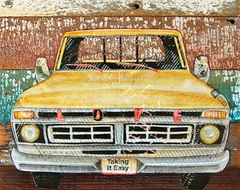 ART PRINT or CANVAS retro antique vintage pick up truck ford nostalgic yellow man cave reclaimed wood poster wall decor gift him, All sizes