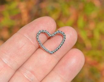 5  Silver Tone Open Heart Charms SC4116