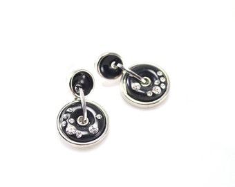 Earrings shiny black ring