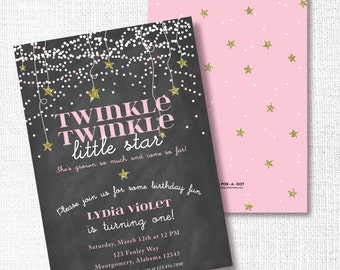 TWINKLE TWINKLE little star birthday party invitation pink gold glitter chalkboard invite she's grown so much and come so far 1st birthday