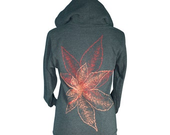 Heather Black Momiji, Maple Leaves Screen Printed Zip Hoodie, Men, Women, Unisex, Cold Weather - Gifts for Him or Her, Made in USA