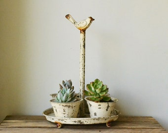 Weathered White Bird Planter Set with Tray