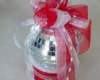Red Birthday Cake Mirror Disco Ball Cake Topper weddings Holiday Bridal Accessories reception party decor Custom New years Eve Anniversary