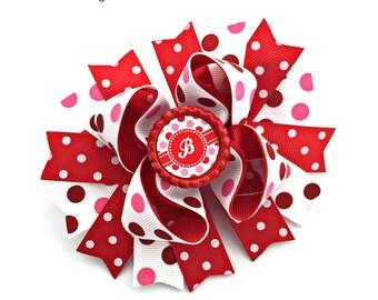 Valentine Hair Bow, Valentine Hairbow, Valentine Hair Clip, Valentine Bow, Personalized Bow, Personalized Hairbow, Personalized Hair Bow