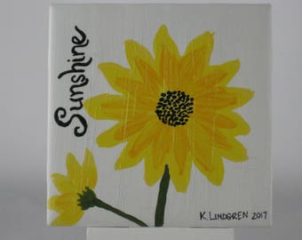 Hand painted Ceramic Tile with Sunflower