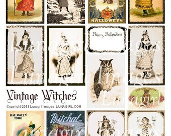 VINTAGE WITCHES digital collage sheet Halloween Victorian women girls sepia spooky owls antique cards pictures ephemera altered art DOWNLOAD