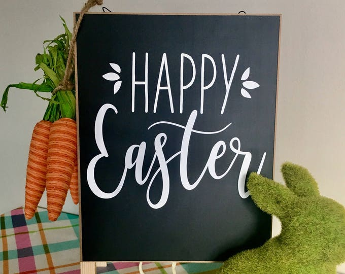 Happy Easter Decal- Vinyl Decor- Spring Decal- Rustic Wall Decal Farmhouse Sign Happy Easter Vinyl Decal Home Decor