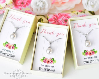 Bridesmaid Necklace, Bridesmaid Jewelry Bridal Party Gift Bridal Shower Bridesmaid Gift Wedding Party Gift Bridesmaid Pendant W04