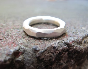 Faceted Sterling Silver Band