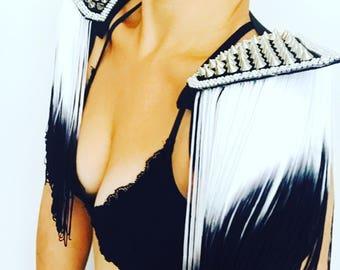 Studded tassel festival tassel epaulettes, tassel shoulder pads, studded epaulettes, tassel festival shoulderpieces, burlesque clothing