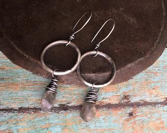 chorus earrings.  labradorite