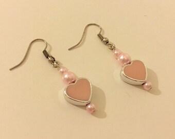 Heart Earrings, Love Earrings, Pearl Earrings, Pink Earrings, Beaded Earrings, Best friends,  Friendship Earrings, Hearted Earrings
