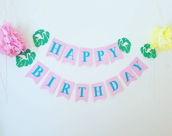Flamingo Birthday Banner,let's flamingle party,tropical birthday banner, luau birthday banner, flamingo party decor,pink and blue flamingo