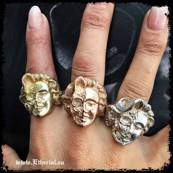 Etherial Jewelry Rock Chic Talisman Luxury Biker Custom Handmade Artisan Pure Sterling Silver .925 Half Skull Half Face Marilyn Monroe Ring