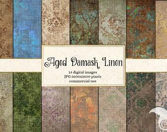 Aged Damask Linen digital paper, vintage grunge distressed backgrounds, printable scrapbook paper, linen textures instant download