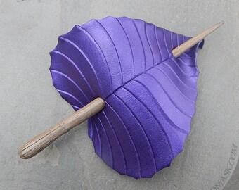 Hair Stick Barrette, Purple Birch Leather Leaf Hair Slide, Shawl Pin, Small - Medium Size Hair Accessory, Fantasy Leaf Hairstick, Hair Clasp
