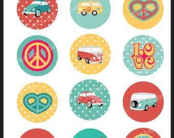 Love Bus 2 Inch Round Printable Circles For Stickers