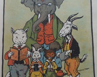 Children's Anthropomorhic Animal Print - School Headmaster - Good Boys at School -Sheep & Goat - Kids Nursery Wall Art- Antique Reprint