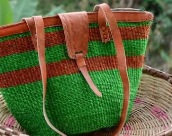 African Baskets - African Market bag, Kenyan tote bag, Green sisal bag, African fashion bag, sisal jute bag,  kenyan purse, holiday gifts