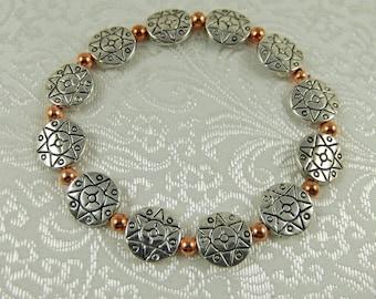 Silver and Copper Bracelet - Stretch Bracelet - Silver Bracelet - Copper Bracelet - Mixed Metal Bracelet - Star Bracelet