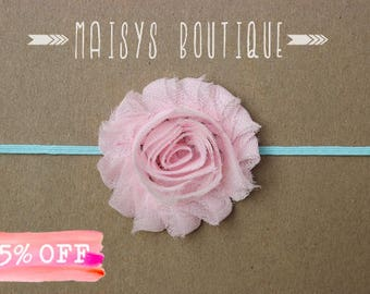 Light Pink and Aqua Flower Headband/ Newborn Headband/ Baby Headband/ Photo Prop/ Clearance