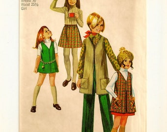 """A Front Zip Mini Jumper, Vest-Style Coat, A Line Skirt, and Straight Leg Pants Pattern: Uncut - Girls Size 12, Breast 30"""" • Simplicity 8994"""
