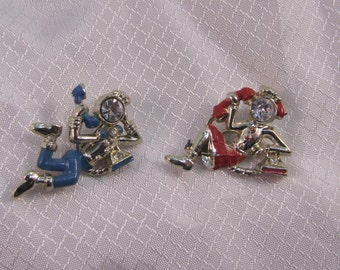 Vintage c1950's His and Hers Telephone Conversation, Soc-Hop Brooches