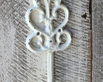 Farmhouse Style Wall Hook / Shabby Cottage Home Decor / White Hook / Purse Hanger / Jewelry Hanger